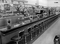1950s 1960s Interior Of Lunch Counter Fine-Art Print