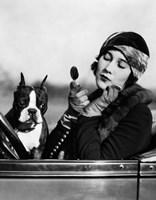 1920s Flapper In Convertible Powdering Her Cheek Fine-Art Print