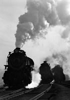 1930s 1940s Head-On View Of Three Steam Engines Fine-Art Print