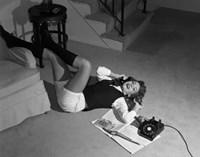 1960s Teenage Girl Lying On Floor Fine-Art Print