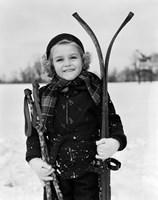 1930s Little Girl Standing Holding Skis Fine-Art Print
