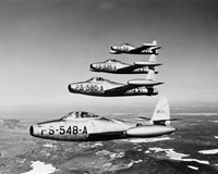 1950s Four Us Air Force F-84 Thunderjet Fighter Fine-Art Print
