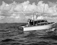 1950s 3 Men Trolling Off Of Fishing Boat Fine-Art Print