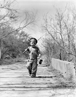 1940s Boy Walking Down Country Road Fine-Art Print
