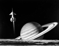 1960s Space Rocket Flying Past Saturn Fine-Art Print
