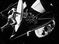 Illustration 1960s Weightless Astronauts Eva Fine-Art Print