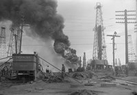 1920s Oil Field Fire Column Of Black Smoke In Field Fine-Art Print