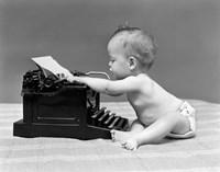 1940s Baby In Diaper Typing Fine-Art Print