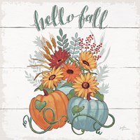 Fall Fun II - Gray and Blue Pumpkin Fine-Art Print