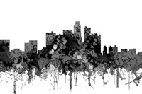 Los Angeles California Skyline - Cartoon B&W Fine-Art Print