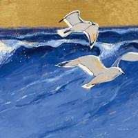 Seagulls with Gold Sky III Fine-Art Print