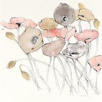 Black Line Poppies I Watercolor Neutral Fine-Art Print