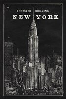 Blueprint Map New York Chrysler Building Black Fine-Art Print