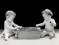 1930s 1940s Twin Babies Playing Game Of Checkers Fine-Art Print