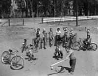 1950s 10 Neighborhood Boys Playing Sand Lot Baseball Fine-Art Print