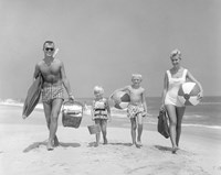 1950s Family Of Four Walking Towards Camera Fine-Art Print