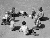 1950s Boys & Girls Shooting Marbles Fine-Art Print