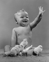 1950s Laughing Baby Surrounded By Little Baby Chicks Fine-Art Print