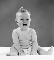 1950s Crying Baby Seated With Distressed Expression? Fine-Art Print