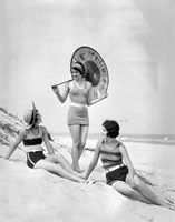 1920s Three Smiling Women In Swimsuits At The Beach Fine-Art Print
