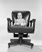 1960s Baby Sitting In Executive Office Chair Fine-Art Print