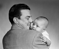 1950s Proud Smiling Father Holding Baby Face To Camera Fine-Art Print