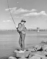 1980s Boy Fishing On Riverbank Fine-Art Print