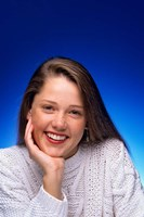 1980s Smiling Teenage Girl Looking At Camera Fine-Art Print