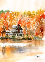 Fall Cabin by the Lake Fine-Art Print