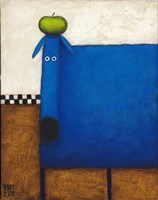 Blue Dog With Apple Fine-Art Print
