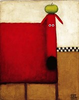 Red Dog With Apple Fine-Art Print