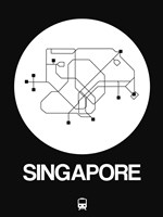 Singapore White Subway Map Fine-Art Print