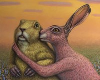 Prairie Dog and Rabbit Couple Fine-Art Print