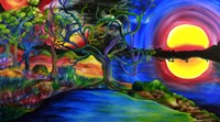 Colorful Psychedelic Rainbow Lake Art Fine-Art Print