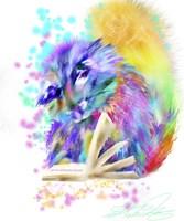 Colorful Rainbow Kitten Reading Fine-Art Print