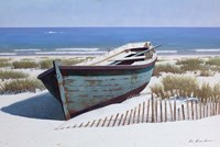 Blue Boat on Beach Fine-Art Print