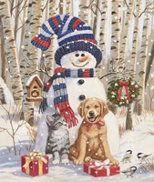 Kitten and Puppy with Snowman Fine-Art Print