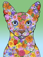 Flowers Siamese Cat Fine-Art Print