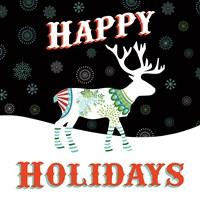 Mod Holiday on Black I Fine-Art Print