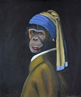 Monkey with Pearl Earring Fine-Art Print