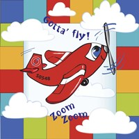 Gotta' Fly Happy Plane Block Fine-Art Print