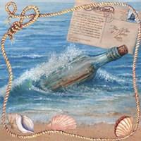 Message In Bottle-Beach Postcard Fine-Art Print