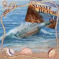 Message In Bottle-Sunset Beach Fine-Art Print