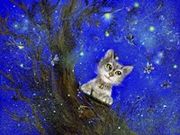 Night Cat Blue Fine-Art Print