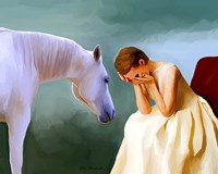 Sad Girl And Horse Fine-Art Print