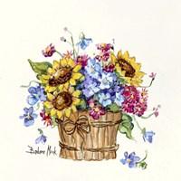 Sunflower Basket I Fine-Art Print