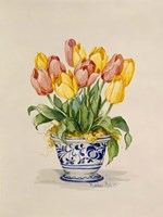 Blue and White Porcelain Tulips Fine-Art Print