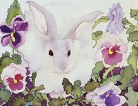Bunny with Pansies Fine-Art Print