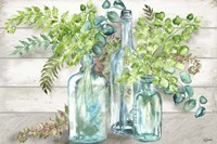 Vintage Bottles and Ferns Landscape Fine-Art Print