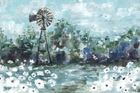 Windmill and Daisies Landscape Fine-Art Print